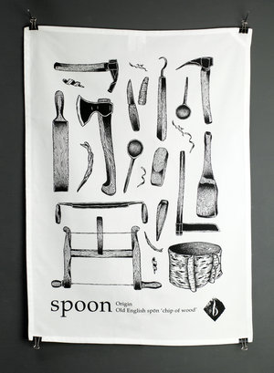 Spoon Makers Tea Towel - Click Image to Close